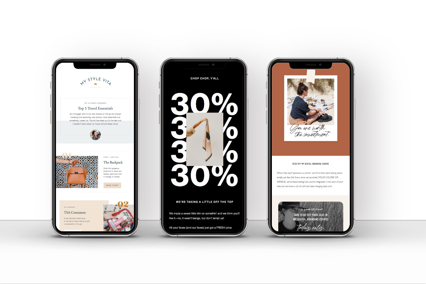 Three examples of FloDesk mobile-friendly newsletters for email marketing.