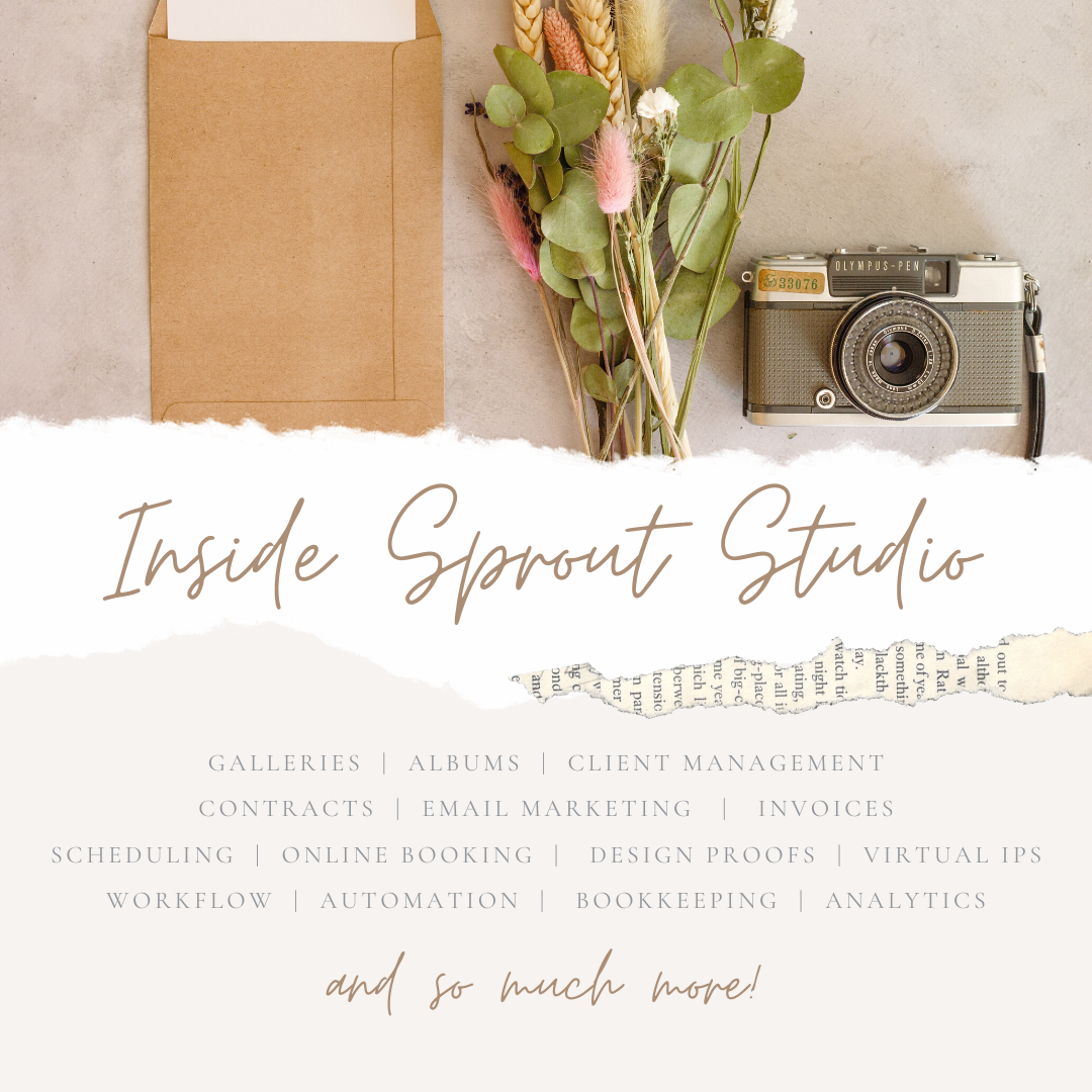 A flower bouquet and camera above the words 'Inside Sprout Studio' with info about what they do