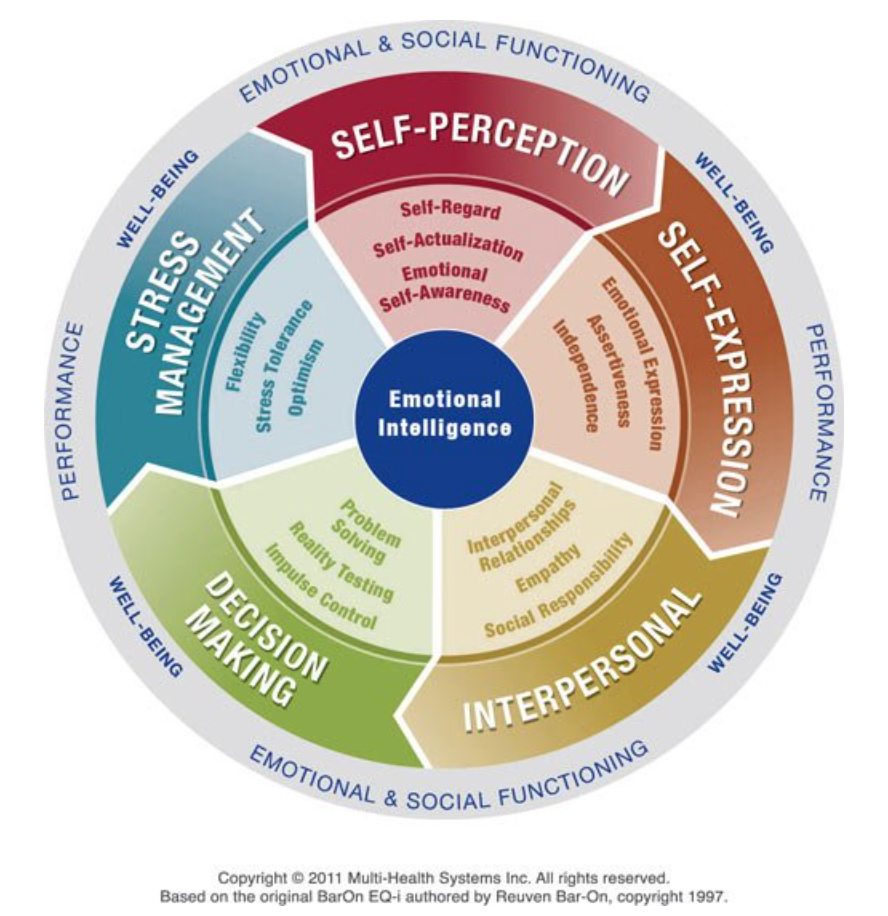 graphic of the emotional intelligence wheel, showing 5 themes and 15 skills that make it up.